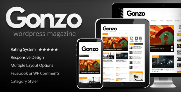Gonzo — тема для свежего, адаптивного журнала на WP