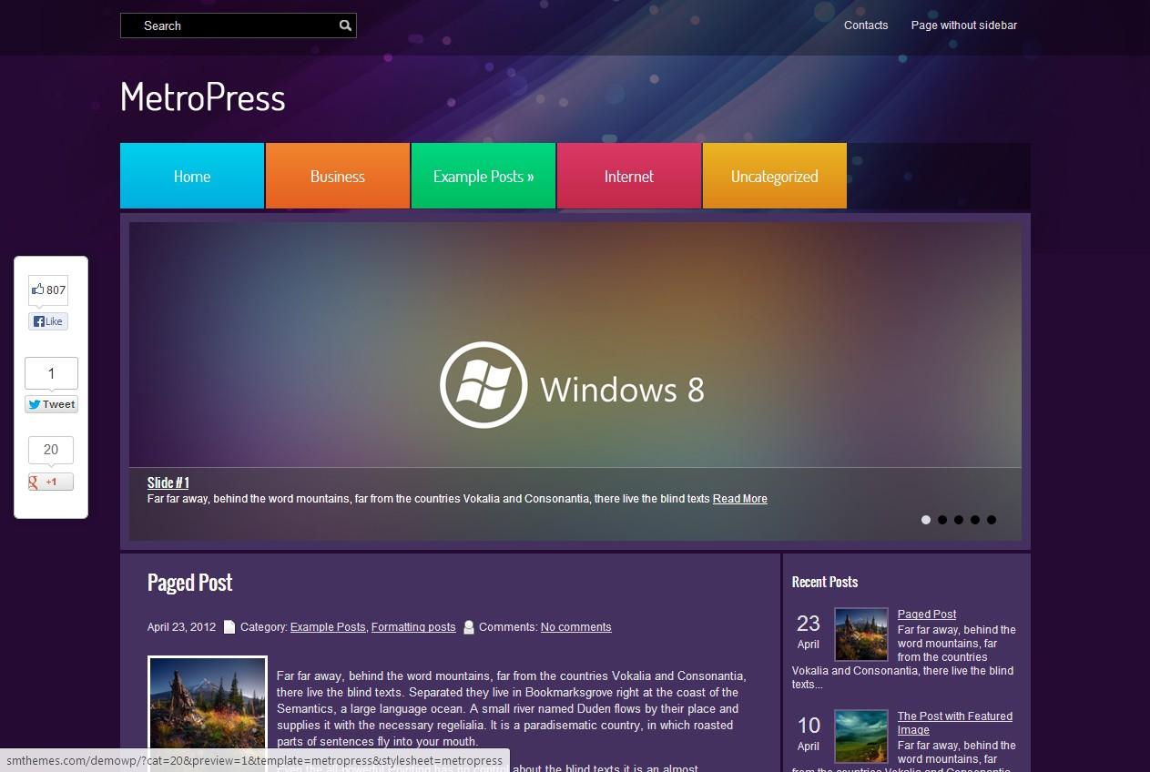 MetroPress - бесплатная wordpress тема