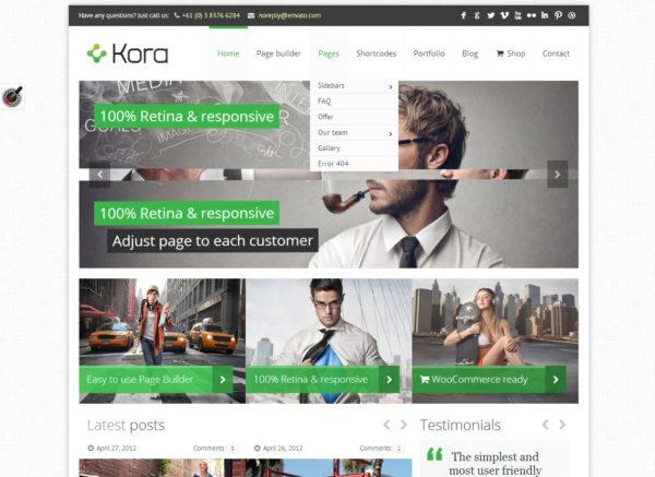 Kora - тема для портала, блога или магазина на CMS Wordpress