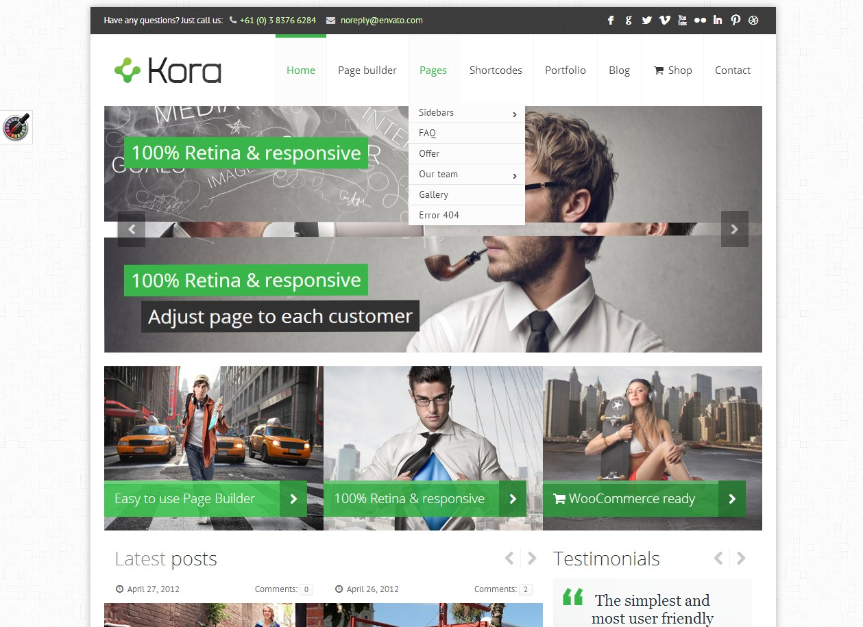 Kora - тема для портала, блога или магазина на CMS Wordpress