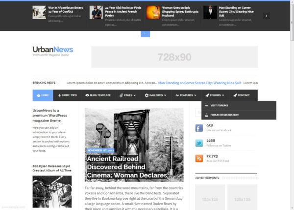 UrbanNews - wordpress тема