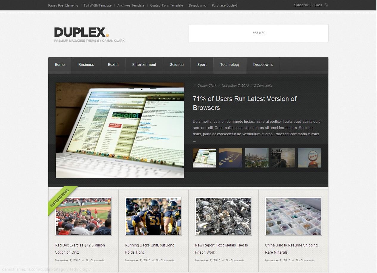 Duplex - блоговая тема