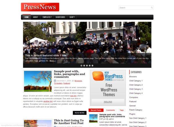 PressNews - тема для новостного блога Wordpress