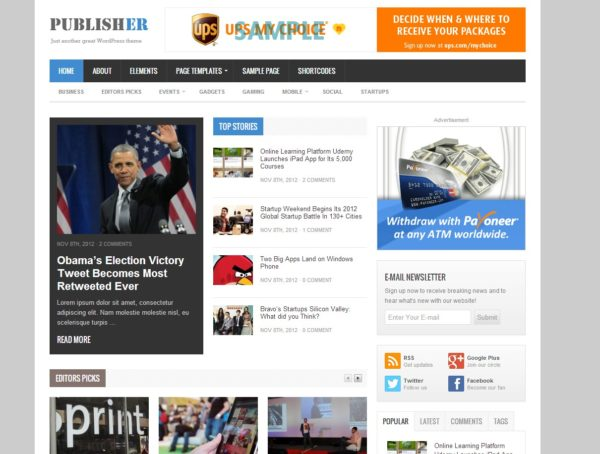Publisher - тема для блога Wordpress