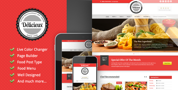 Delicieux - Restaurant Wordpress Theme