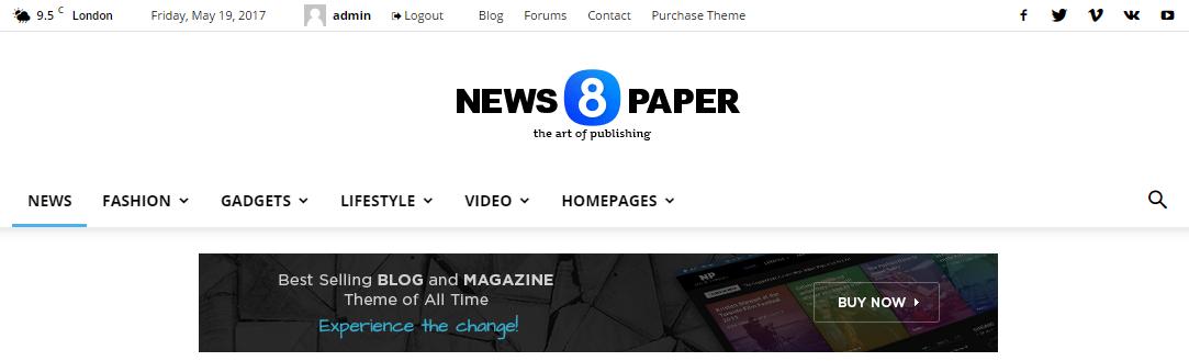 Шаблон Newspaper от ThemeForest